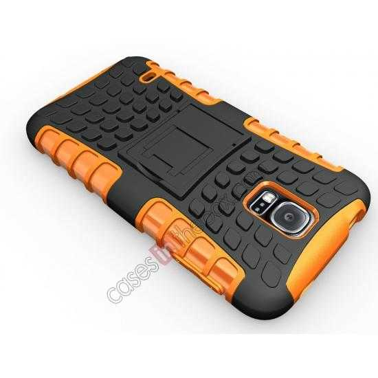 cheap Heavy Duty Strong TPU Case Cover Stand For Samsung Galaxy S5 - Orange