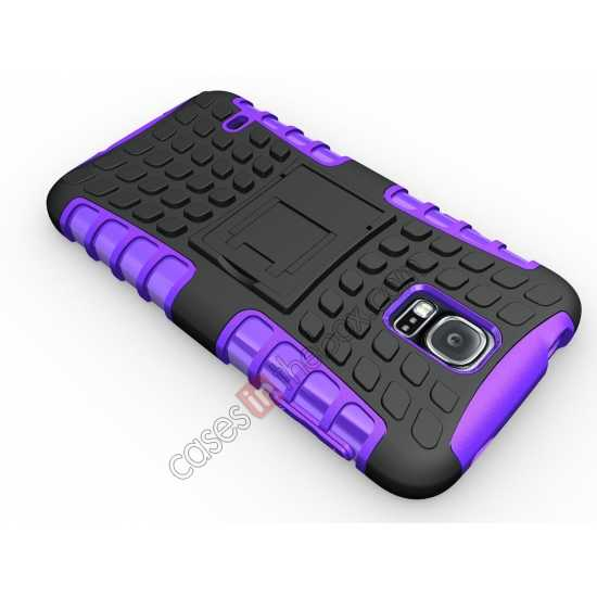 cheap Heavy Duty Strong TPU Case Cover Stand For Samsung Galaxy S5 - Purple