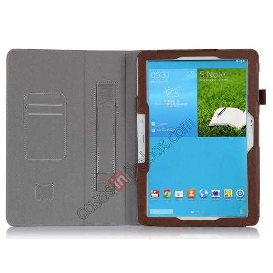 top quality High quality Cow Leather Folio Case Stand Cover for Samsung Galaxy Tab Pro 12.2 P900 - Brown