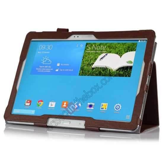 best price High quality Cow Leather Folio Case Stand Cover for Samsung Galaxy Tab Pro 12.2 P900 - Brown