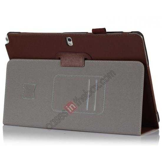 wholesale High quality Cow Leather Folio Case Stand Cover for Samsung Galaxy Tab Pro 12.2 P900 - Brown