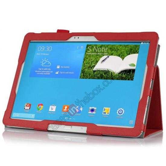 best price High quality Cow Leather Folio Case Stand Cover for Samsung Galaxy Tab Pro 12.2 P900 - Red