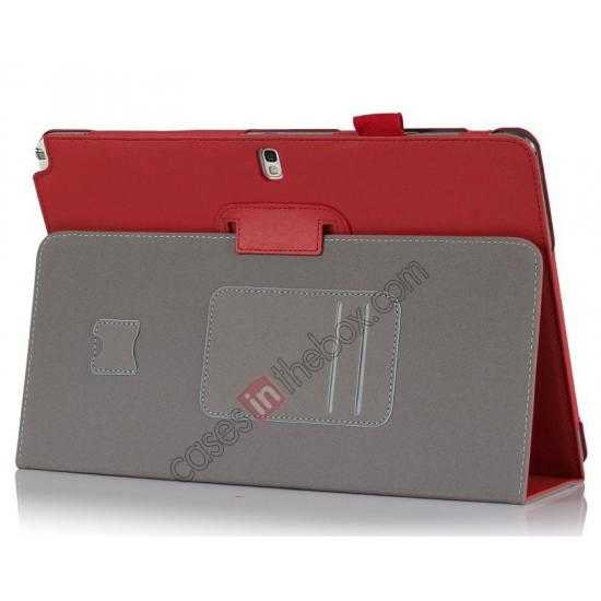 wholesale High quality Cow Leather Folio Case Stand Cover for Samsung Galaxy Tab Pro 12.2 P900 - Red