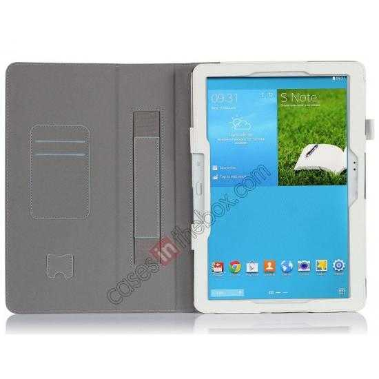 top quality High quality Cow Leather Folio Case Stand Cover for Samsung Galaxy Tab Pro 12.2 P900 - White