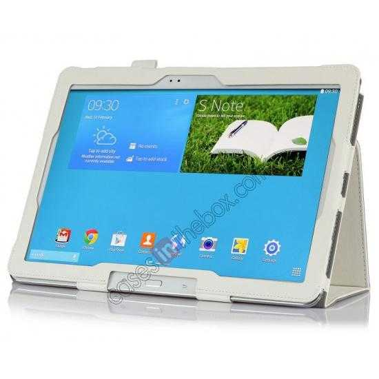 best price High quality Cow Leather Folio Case Stand Cover for Samsung Galaxy Tab Pro 12.2 P900 - White