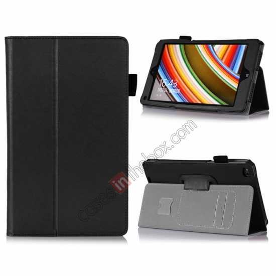 wholesale High quality Cow Leather Pattern Folio Case stand cover for Lenovo Thinkpad 8 - Black