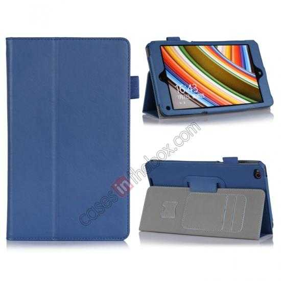 wholesale High quality Cow Leather Pattern Folio Case stand cover for Lenovo Thinkpad 8 - Blue
