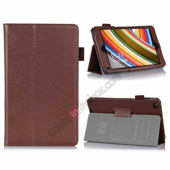 wholesale High quality Cow Leather Pattern Folio Case stand cover for Lenovo Thinkpad 8 - Brown