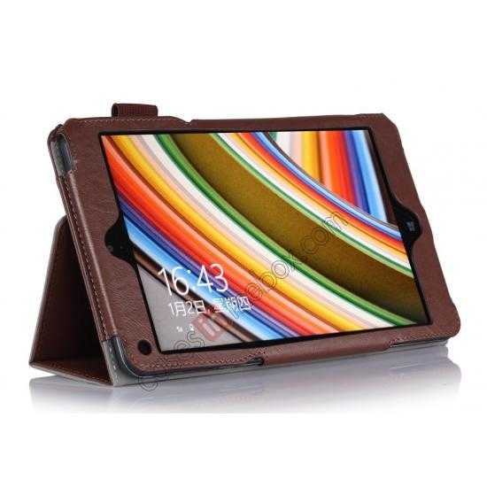 discount High quality Cow Leather Pattern Folio Case stand cover for Lenovo Thinkpad 8 - Brown