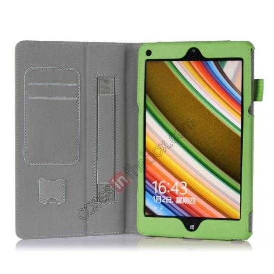 top quality High quality Cow Leather Pattern Folio Case stand cover for Lenovo Thinkpad 8 - Green