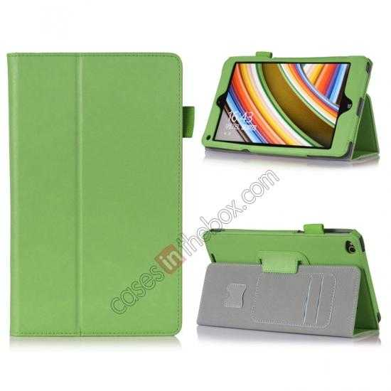 wholesale High quality Cow Leather Pattern Folio Case stand cover for Lenovo Thinkpad 8 - Green