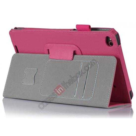 wholesale High quality Cow Leather Pattern Folio Case stand cover for Lenovo Thinkpad 8 - Hot pink