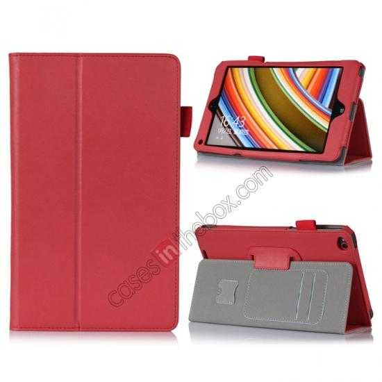 wholesale High quality Cow Leather Pattern Folio Case stand cover for Lenovo Thinkpad 8 - Red