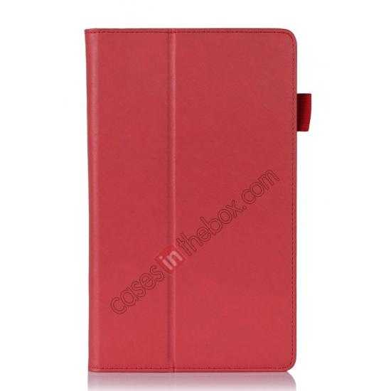 best price High quality Cow Leather Pattern Folio Case stand cover for Lenovo Thinkpad 8 - Red