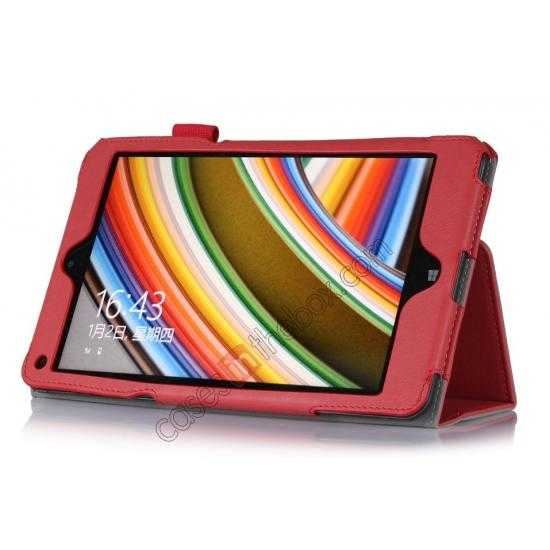 discount High quality Cow Leather Pattern Folio Case stand cover for Lenovo Thinkpad 8 - Red