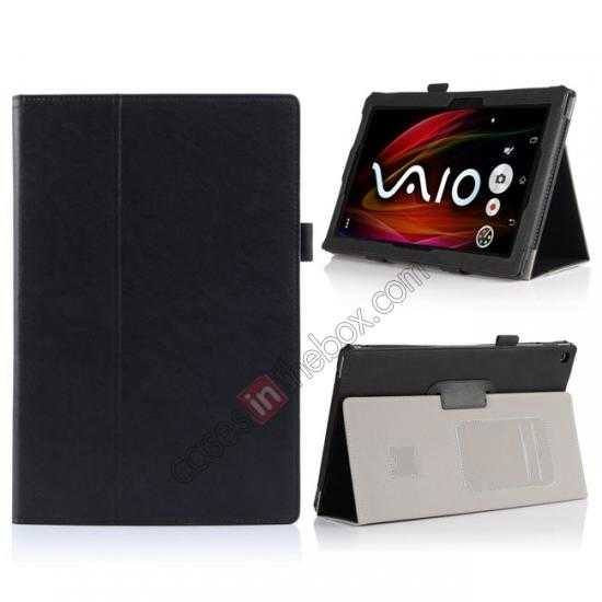 wholesale High quality Cow Leather Pattern Folio Case stand cover for Sony Xperia 10.1 Z2 Tablet - Black