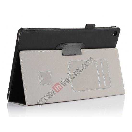 top quality High quality Cow Leather Pattern Folio Case stand cover for Sony Xperia 10.1 Z2 Tablet - Black