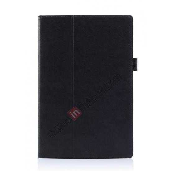 best price High quality Cow Leather Pattern Folio Case stand cover for Sony Xperia 10.1 Z2 Tablet - Black