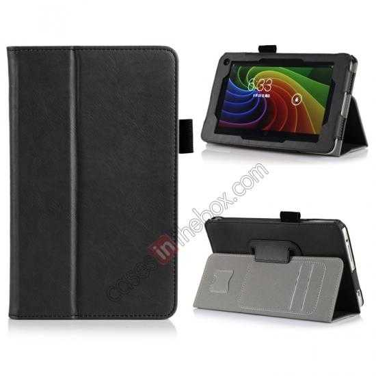 wholesale High quality Cow Leather Pattern Folio Case stand cover for Toshiba AT7-B8 - Black