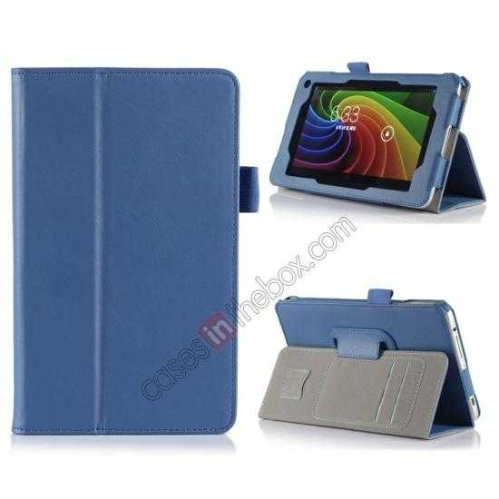 wholesale High quality Cow Leather Pattern Folio Case stand cover for Toshiba AT7-B8 - Blue