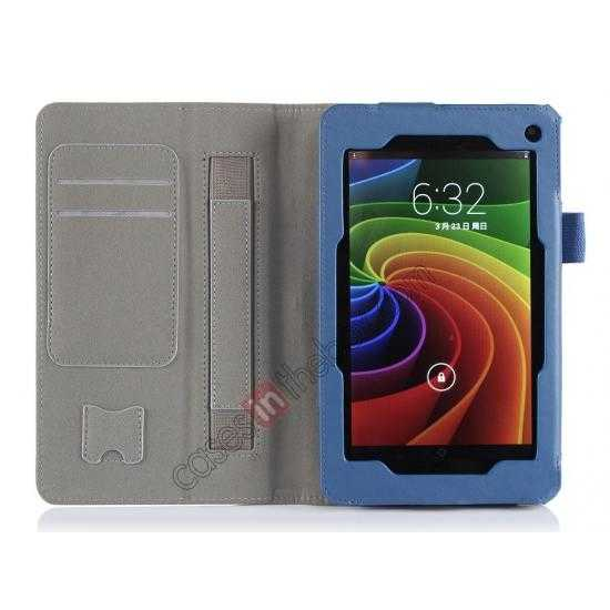 top quality High quality Cow Leather Pattern Folio Case stand cover for Toshiba AT7-B8 - Blue
