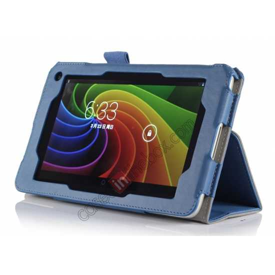 discount High quality Cow Leather Pattern Folio Case stand cover for Toshiba AT7-B8 - Blue