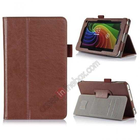wholesale High quality Cow Leather Pattern Folio Case stand cover for Toshiba AT7-B8 - Brown