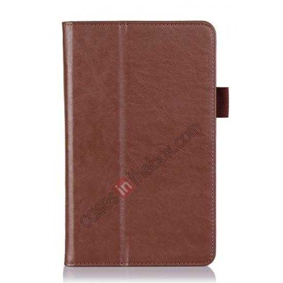 best price High quality Cow Leather Pattern Folio Case stand cover for Toshiba AT7-B8 - Brown