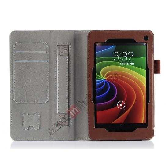 top quality High quality Cow Leather Pattern Folio Case stand cover for Toshiba AT7-B8 - Brown
