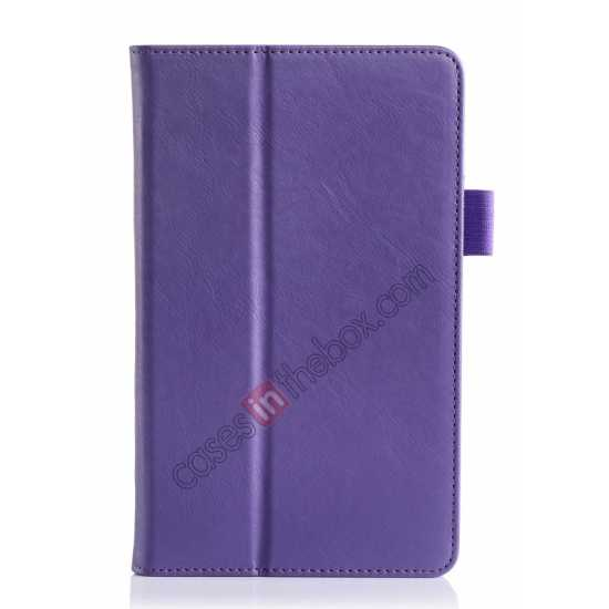 best price High quality Cow Leather Pattern Folio Case stand cover for Toshiba AT7-B8 - Purple