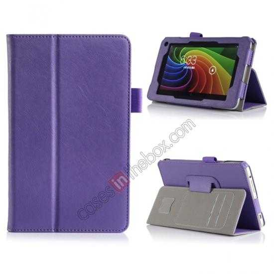 wholesale High quality Cow Leather Pattern Folio Case stand cover for Toshiba AT7-B8 - Purple
