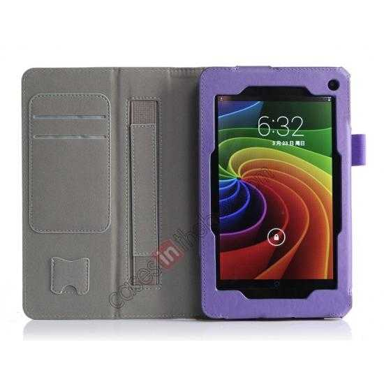 top quality High quality Cow Leather Pattern Folio Case stand cover for Toshiba AT7-B8 - Purple