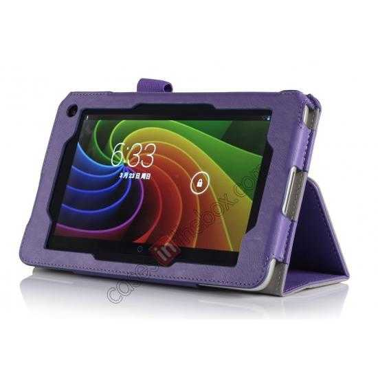discount High quality Cow Leather Pattern Folio Case stand cover for Toshiba AT7-B8 - Purple