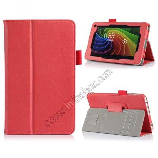 wholesale High quality Cow Leather Pattern Folio Case stand cover for Toshiba AT7-B8 - Red