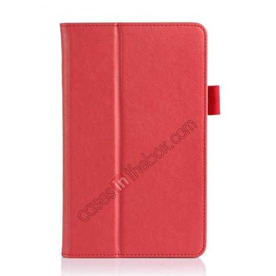 best price High quality Cow Leather Pattern Folio Case stand cover for Toshiba AT7-B8 - Red