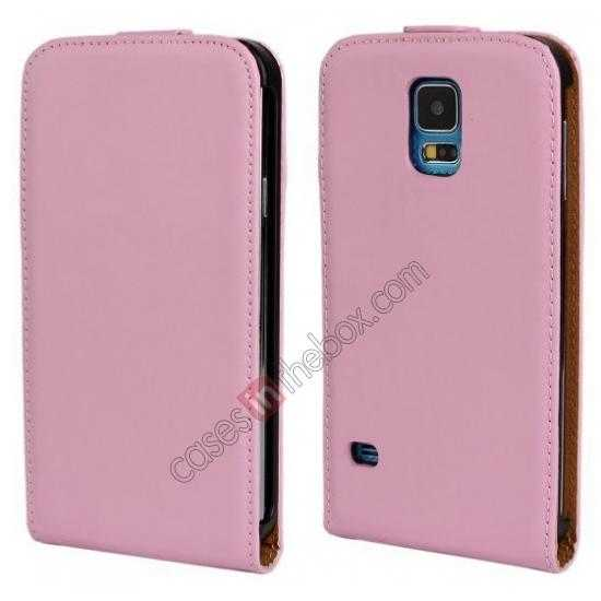 wholesale High quality Genuine Real Leather Top Flip Case for Samsung Galaxy S5 - Pink