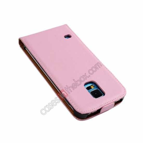 discount High quality Genuine Real Leather Top Flip Case for Samsung Galaxy S5 - Pink