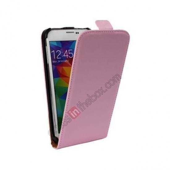 cheap High quality Genuine Real Leather Top Flip Case for Samsung Galaxy S5 - Pink