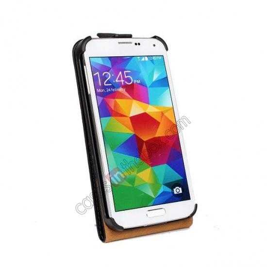cheap High quality Genuine Real Leather Top Flip Case for Samsung Galaxy S5 - Black