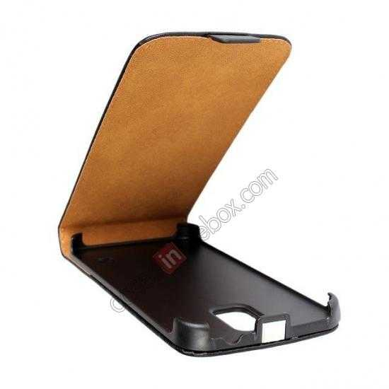 low price High quality Genuine Real Leather Top Flip Case for Samsung Galaxy S5 - Black