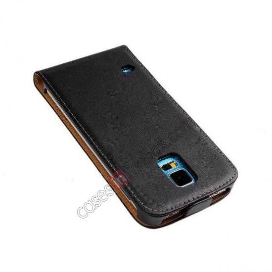 discount High quality Genuine Real Leather Top Flip Case for Samsung Galaxy S5 - Black