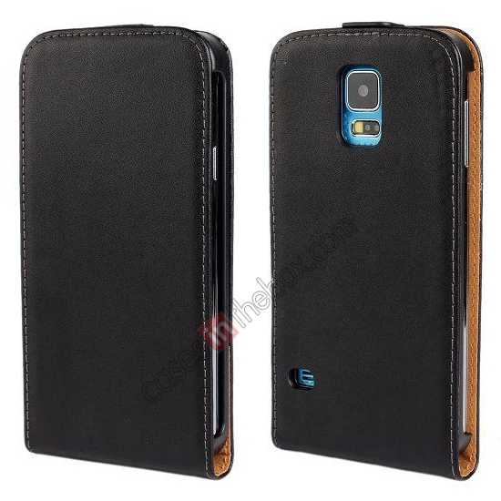 wholesale High quality Genuine Real Leather Top Flip Case for Samsung Galaxy S5 - Black