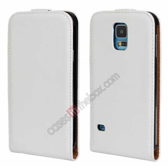 wholesale High quality Genuine Real Leather Top Flip Case for Samsung Galaxy S5 - White