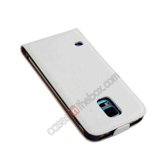 discount High quality Genuine Real Leather Top Flip Case for Samsung Galaxy S5 - White
