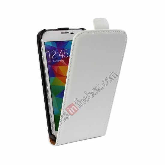 cheap High quality Genuine Real Leather Top Flip Case for Samsung Galaxy S5 - White