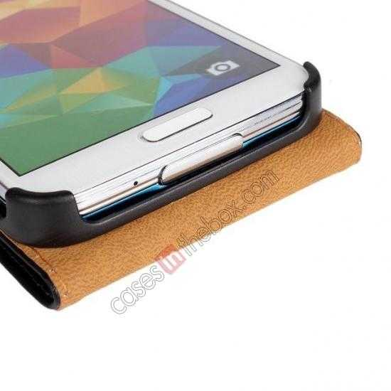 best price High quality Genuine Real Leather Top Flip Case for Samsung Galaxy S5 - White