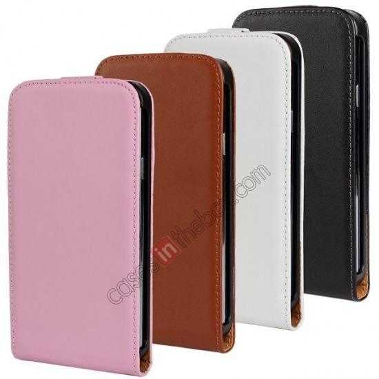 low price High quality Genuine Real Leather Top Flip Case for Samsung Galaxy S5 - White