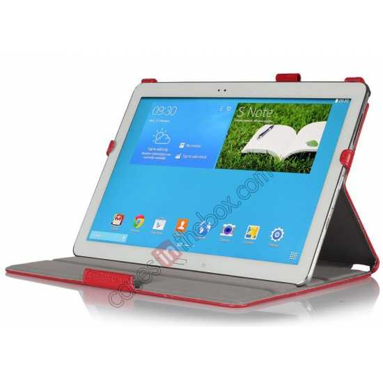 best price High quality Heat Setting Leather Smart Slim Case Cover for Samsung Galaxy Tab Pro 12.2 P900 - Red