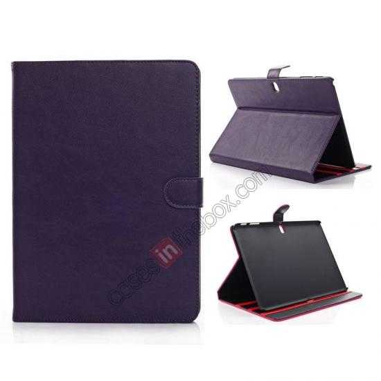 wholesale High quality Leather Folio Stand Case for Samsung Galaxy Tab Pro 10.1 T520 - Purple