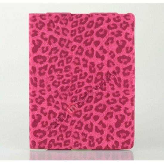discount High quality Leather Ultrathin Leopard Print Protective Case with Stand Function for iPad 2, the new iPad, iPad 4 - Rose